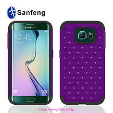 Hot Selling Waterproof Bling Diamond PC Silicone Covers For Samsung Galaxy S6 Edge
