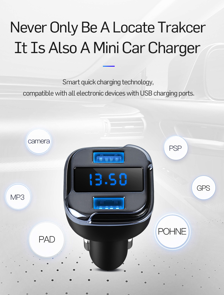 2017 New GPS locator car charger LED Real Time GPS Tracker GSM GPRS Tracking Device Car Charger USB Port Charger Adapter Smart