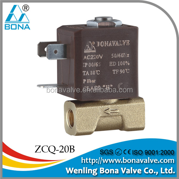 China Manufacturer BONA VALVE ZCQ-20B Industrial Gas Heater low lead Brass Solenoid Valve Orifice 2.2mm 24VDC