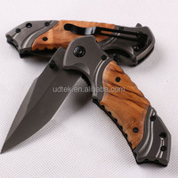 OEM custom logo design 440C blade wood handle pocket knife