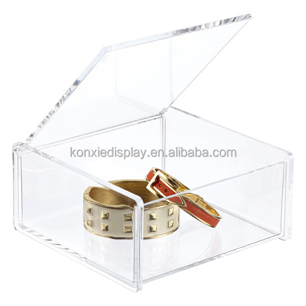 factory custom small clear acrylic boxes with hinged lids