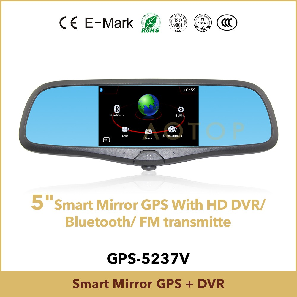 5inch rearview mirror car gps with dvr,fm, bluetooth function for different brand car