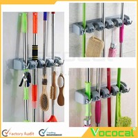 Space-saving Multifunctional 6 hooks 5 holders wall mounted Mop and Broom Holder