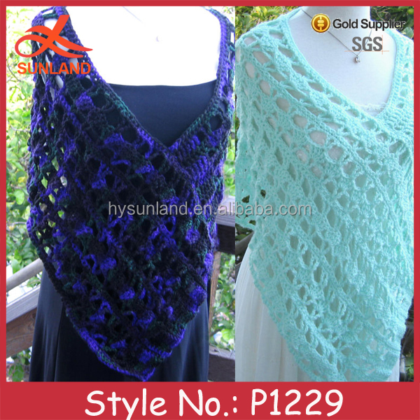 P1229 2015 new custom fancy women lady handmade crochet shawls