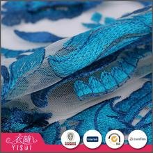 China factory colorful comfortable royal blue 3d flower lace embroidered fabric