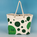 one side imprinted string handle recycled canvas shopping bag