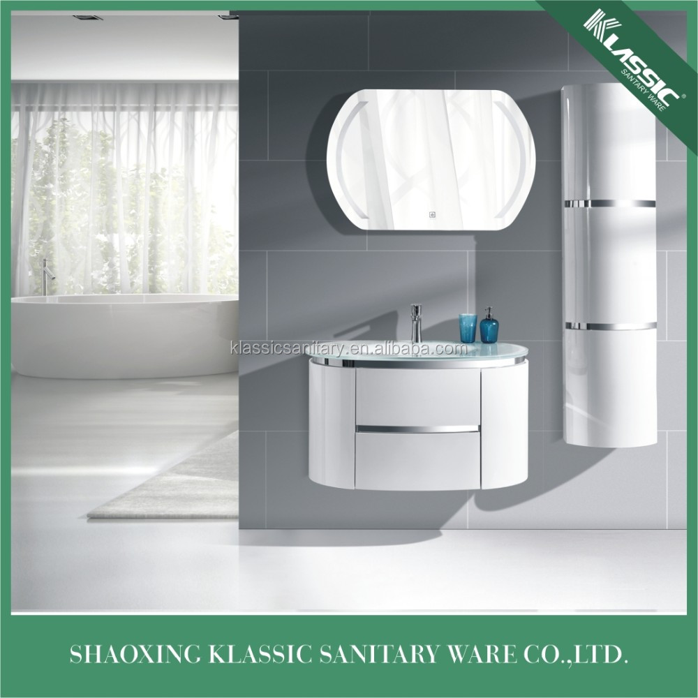 New curved design bathroom vanites with touched switch LED lamp