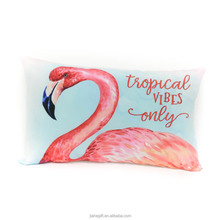 China manufacture summer pink flamingo pattern custom canvas embroidery cushion covers
