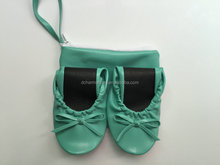 Nice foldable ballerina shoes /Women folded party flat with bag/rolling up shoe made in China