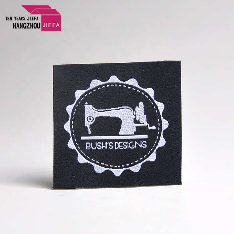100%polyester high density brand main custom satin woven label for clothing