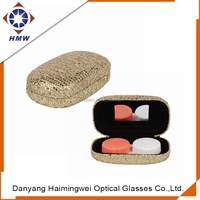 hot sell pu leather folding glasses case box, contact lenes case