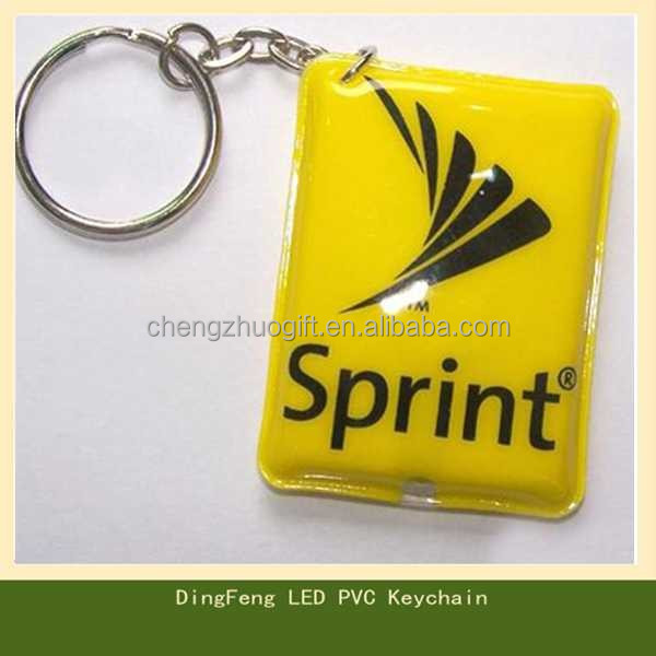 OEM custom soft pvc led light keychain, plastic flash light keyring