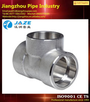 stainless steel asme standard bevel ends pipe fitting tee