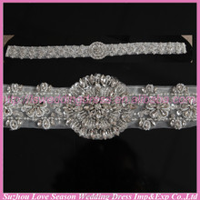 LB0001 Quality fabric best handmade High end woman rhinestone belt sash embellished wedding dress belts
