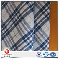 yarn dyed cotton navy plaid space dye poplin fabric for designing clothing