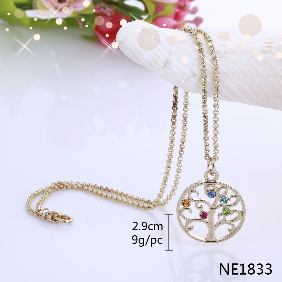 Wholesale on alibaba fashion simple Gold color crystal tree birthstone ring pendant