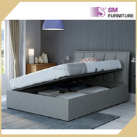 Elegant Cheap Beautiful Grey Fabric Bed