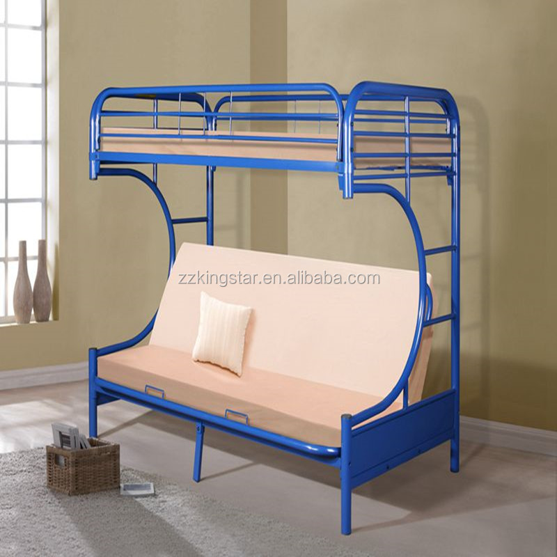 New color blue powder coating iron steel bunk bed buy for Western style beds