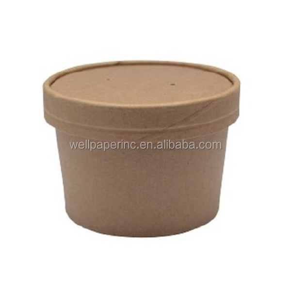 Round Kraft Soup Container Bucket with Paper Vented Lid, 8 oz. Capacity (Case of 500)