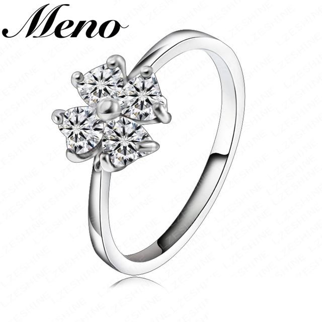 Meno Rhodium plated Heart-shaped diamond four-leaf clover elegant finger Ring for girls