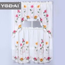 Custom 100% Polyester White Simple Design Latest Kitchen Curtain Designs