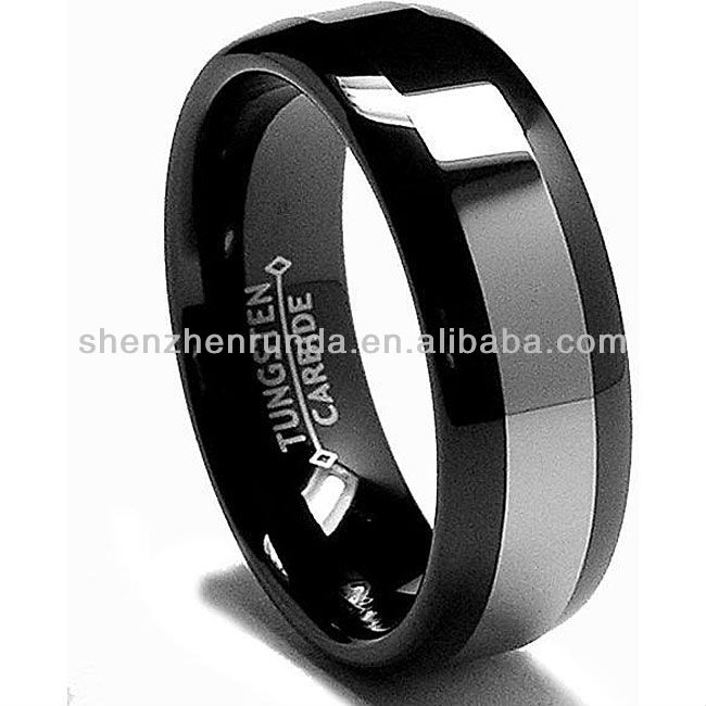 New Products 2013 Jewelry Fashion Men's Black-plated Comfort Fit Tungsten Carbide Ring