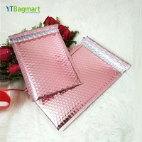 Factory Foil Air Bubble Padded Mailing Packaging Custom Metallic Glamour Rose Gold Bubble Mailer