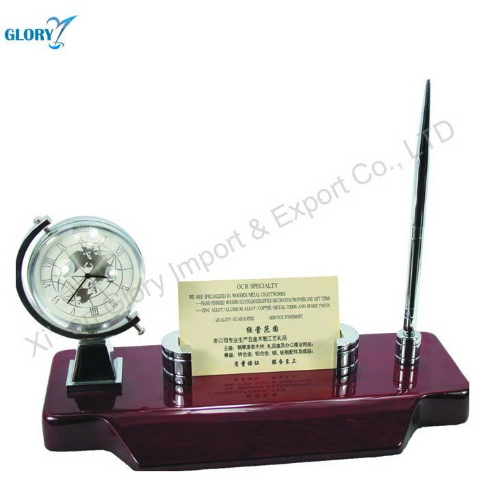 Fashion red wood individual pen holder with clock and globe