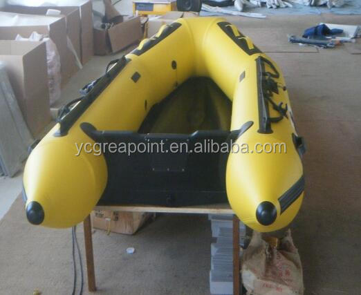 aluminium floor inflatable rubber boat with electric motor