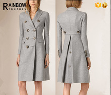 Women Wool Long Knee-length style Wool double-breasted coat in Grey