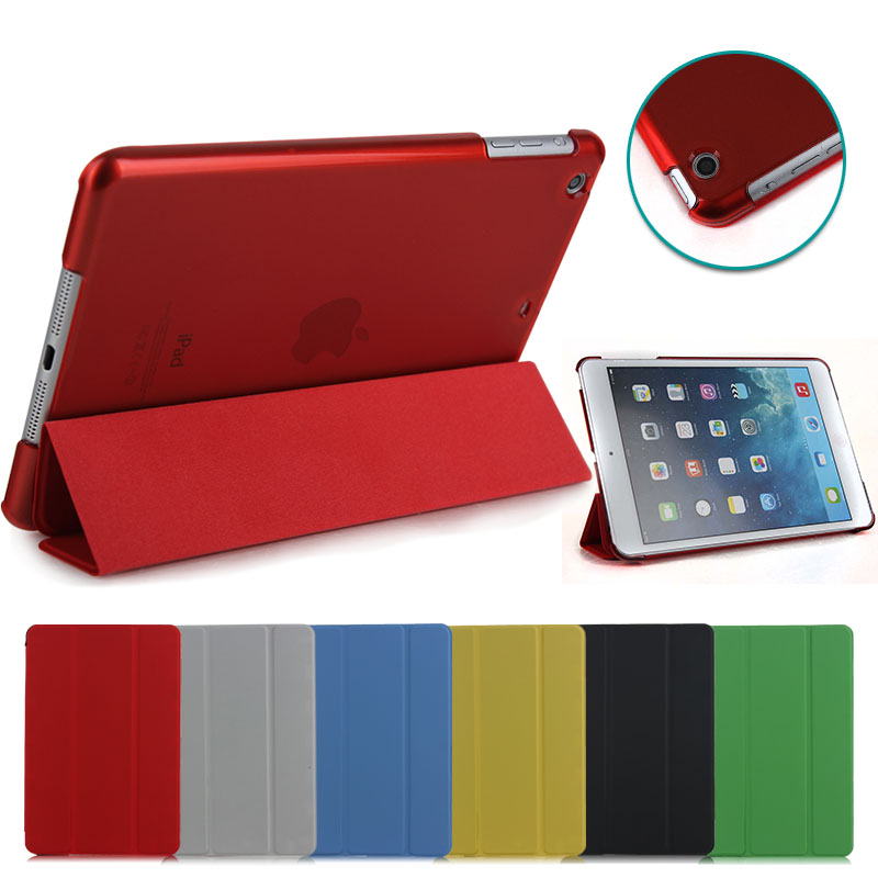 multi-color clear crystal case + leather fold stand flip cover for tablet ipad mini 1 2 3