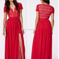 2015 Latest design sexy women chiffon party dresses v collar red lace maxi evening dress