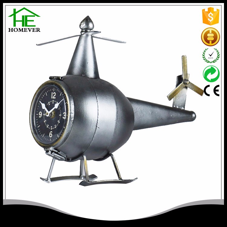 Fuzhou iron ce retro black table metal clock