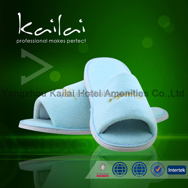 Disposable Open Toe Velour Hotel Guestroom Slipper/Indoor disposable hotel guestroom cotton slippers