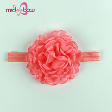 Wholesale big organza flower baby girl newborn headbands
