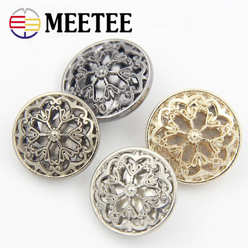 New metal hollow out flowers metal shank buttons decorative buttons for overcoat garment accessories