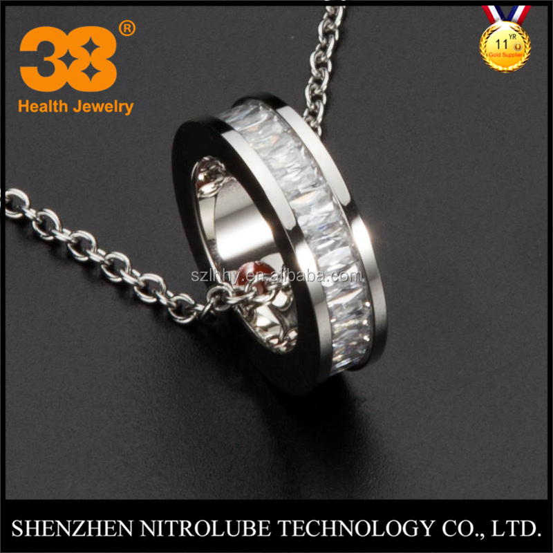 Fashion accessories shenzhen silver tone cubic zirconia CZ stainless steel energy ring pendant chain necklace wholesale jewelry