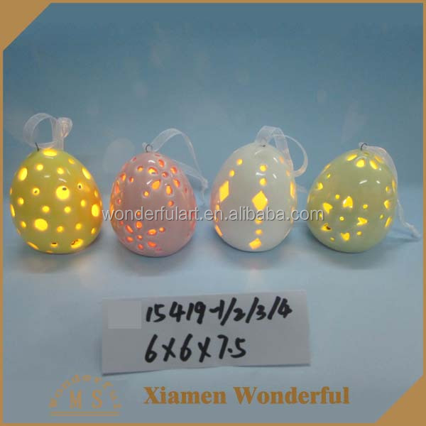 high quality colorful decorative ceramic egg with ribbon