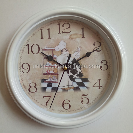 9 inch old plastic chief unique antique art wall clock