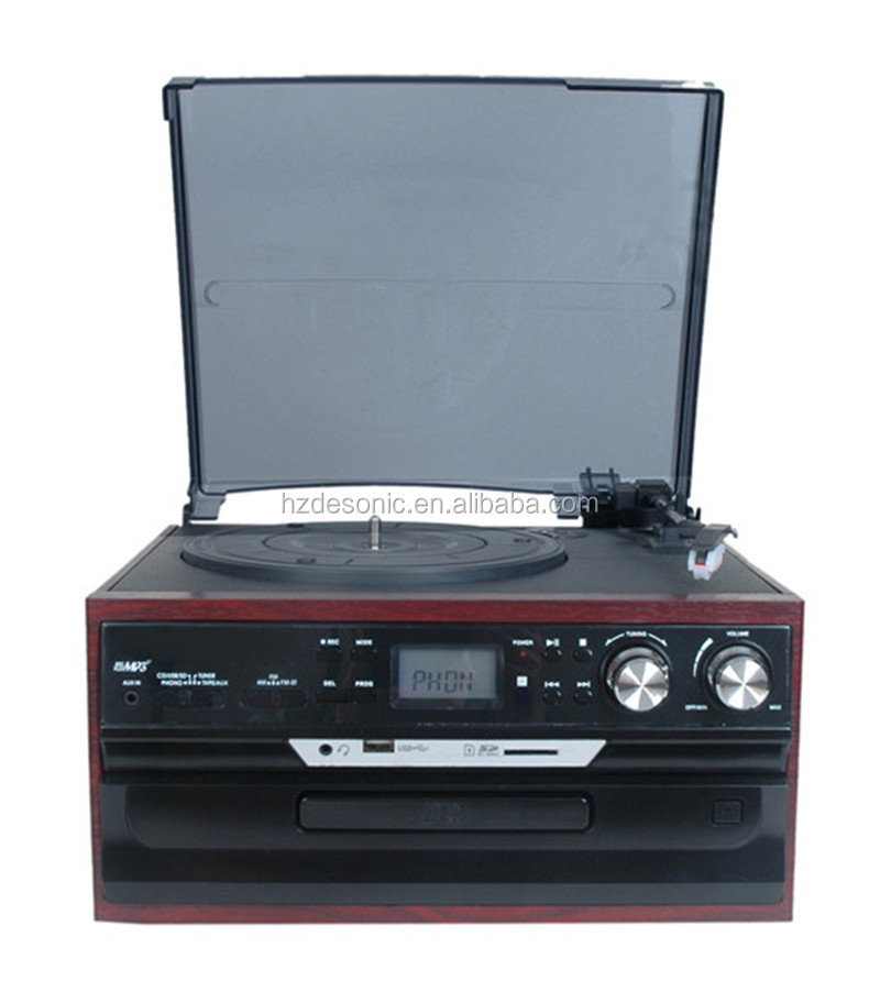 portable vintage 3 speed lp turntable record player & cassette /CD/USB radio player