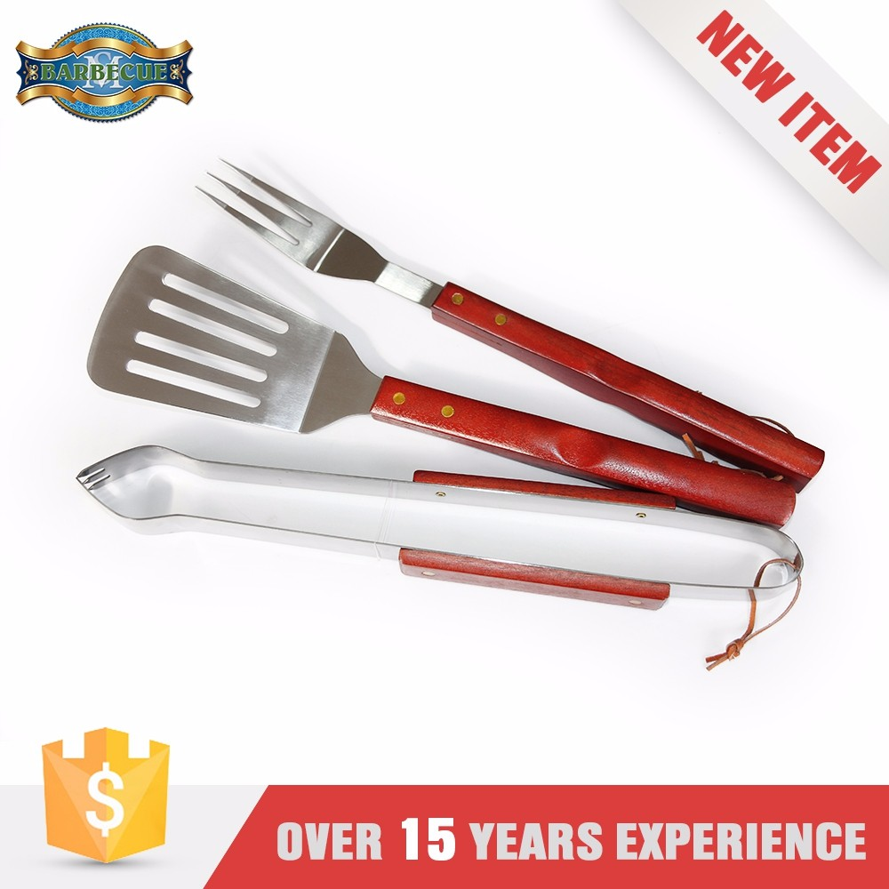 HIGH QUALITY stainless-steel bbq tool set with wooden handle