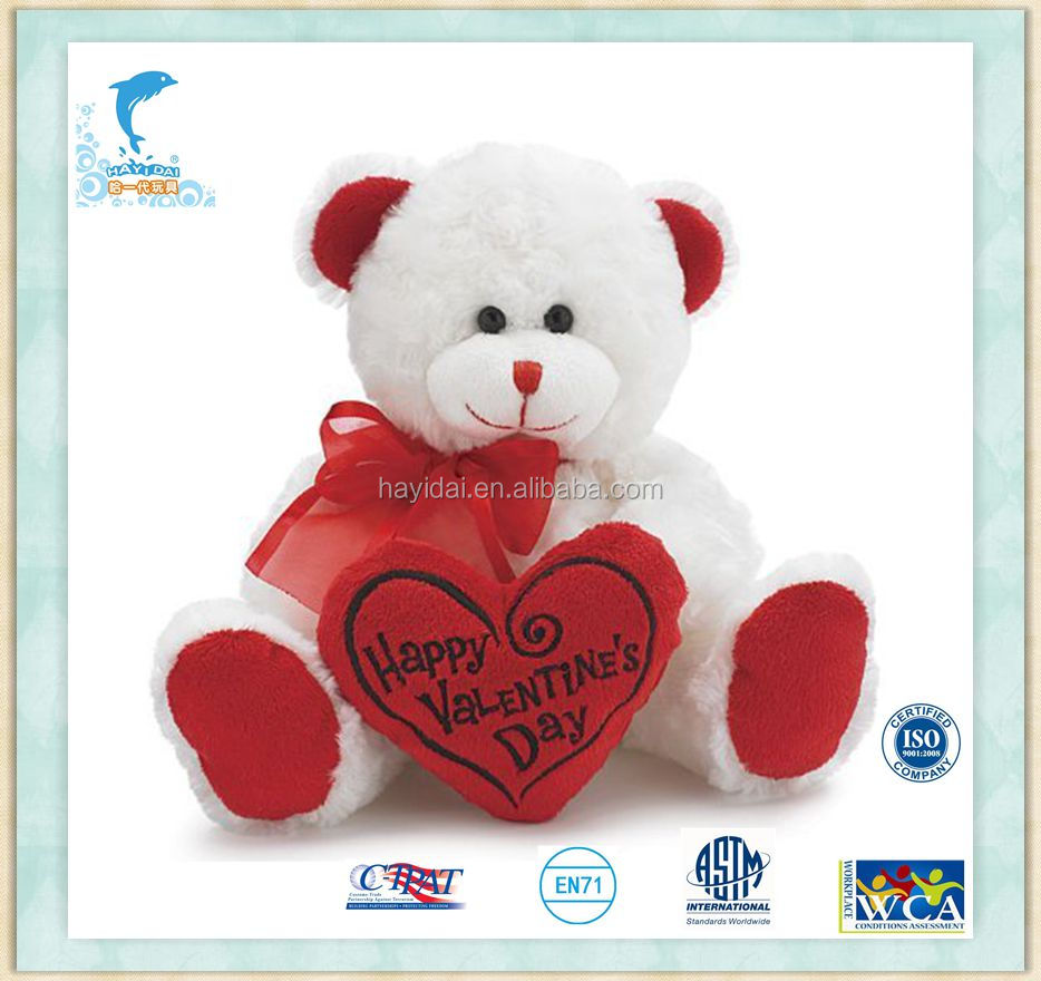 20cm Sitting Valentine Teddy Bear White with Red Message Pillow