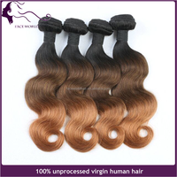 High quality wholesale two tone ombre colored malaysian 100% human hair weave