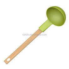 High Quality Silicone Soup Ladle With Wooden Handle Silicone Kitchen Cooking Utensils