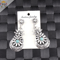 EYQ-00047 fashion large handmade crystal dangling latest teardrop wholesale silver earring