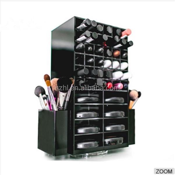 storage cosmetic makeup brush holder rotating acrylic lipstick holder / lipstick display stand rack/ spinning lipstick tower