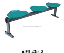 Modern design public waiting plastic chair without back/ hairdressing waiting chair 3 seat ML239-3