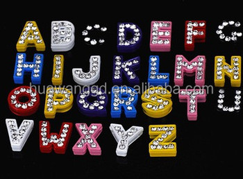Clear rhinestones slide letter bead for keychain jewelry making