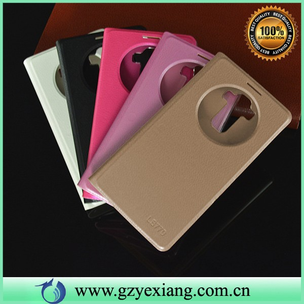 smart window leather flip case for lg g4 stylus back cover