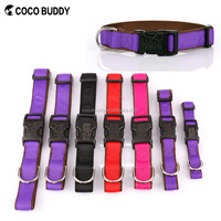 High quality Ribbon Overlay 100% Nylon Plastic Buckle Pet Dog Collar 9 colors 4 sizes